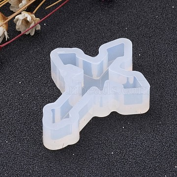 Cross Shape DIY Silicone Molds, Resin Casting Molds, For UV Resin, Epoxy Resin Jewelry Making, Clear, 38.5x28.5x7mm; Inner Size: 34x24mm(X-AJEW-P035-02)