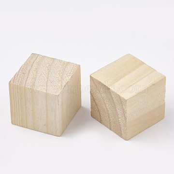 Wooden Cabochons, Cube, PapayaWhip, 25x25x25mm(X-WOOD-T011-29)