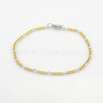 Two Tone Casual Style 304 Stainless Steel Twist Mother-Son Chain Bracelets for Further Design, with Lobster Claw Clasps, Stainless Steel Color & Golden, 190x3x1.5mm(X-STAS-O036-23M)