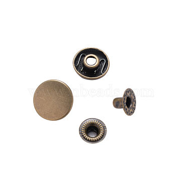 Brass Snap Buttons, Garment Buttons, Antique Bronze, Cap: 14.5mm, Pin: 3mm; Stud: 10x3.5mm, knob: 4.5mm & 10x6.5mm, knob: 4mm; 10x3.5mm; Socket: 13x4mm, half-drill: 5.5mm(BUTT-Q045-001AB)
