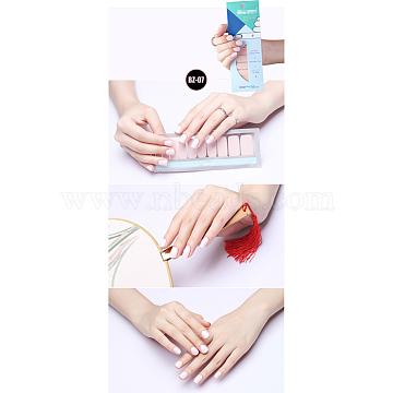 Pure Color Nail Art Stickers, 20PCS Double-ended Nail Appliques, 1PC Nail File and Alcohol Pad, LavenderBlush, 14.5x7.5cm(MRMJ-Q013-01G)