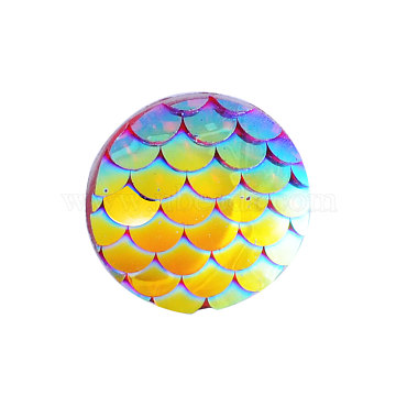 Resin Cabochons, Flat Round with Mermaid Fish Scale, Gold, 12x3mm(X-CRES-Q191-HA023-11)