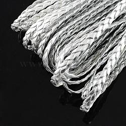 Imitation cuir tressé des cordes métalliques, accessoires de bracelet à chevrons, argenterie, 5x2 mm; 100 m / bundle(LC-S002-5mm-26)