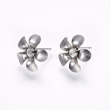 304 Stainless Steel Stud Earring Settings, Flower, Stainless Steel Color, Tray: 5mm; 15x15x15mm; Pin: 0.8mm(X-STAS-I095-05P)