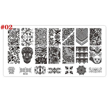 Stainless Steel Nail Art Stamping Plates, Nail Image Templates, Template Tool, Rectangle, Floral Pattern, Stainless Steel Color, 12.5x6.5cm(MRMJ-A002-010B)