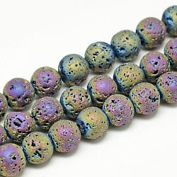 """Chapelets de perles de lava électrolytique naturel, Style mat, rond, multi-couleur plaquée, 8x8.5mm, trou: 1mm; environ 48 pcs/chapelet, 15.3""""(G-T058-03E)"""