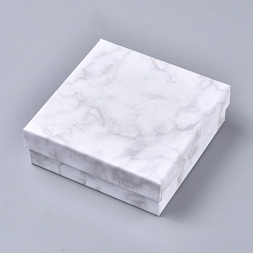 Square Kraft Cardboard Jewelry Boxes, Marble Pattern Necklace Pendant Boxes, with Black Sponge, White, 11.2x11.2x3.8cm(CBOX-L008-001)
