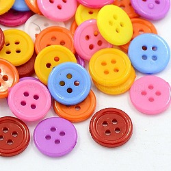 Boutons acryliques de couture, Boutons en plastique pour costumes, 4-trou, teint, plat rond, couleur mixte, 12x2mm, Trou: 1mm(X-BUTT-E076-A-M)