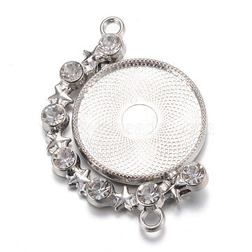 Rotatable Tibetan Style Alloy Cabochon Connector Settings, Cadmium Free & Lead Free, Double-sided Tray, with Rhinestones, Flat Round, Platinum, Tray: 25mm, 47x32x4.5mm, Hole: 3mm(X-PALLOY-S087-003P)