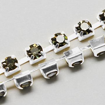 Brass Rhinestone Strass Chains, Rhinestone Cup Chain, 1440pcs Rhinestone/bundle, Grade A, Silver Color Plated, Black Diamond, 3.5mm, about 29.52 Feet(9m)/bundle(CHC-S16-17S)