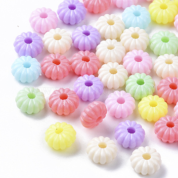 Opaque Polystyrene Plastic Corrugated Beads, Pumpkin, Mixed Color,8.5x4.5mm, Hole: 2mm, about 250pcs/50g(X-KY-I004-10)