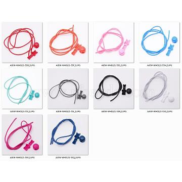 Polyester Latex Elastic Cord Shoelace, with Plastic Spring Cord Locks, Mixed Color, 1000x2.7mm; 10 colors, 2sets/color, 20sets/bag(AJEW-NB0001-93)