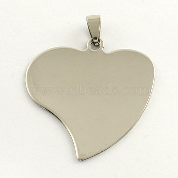 201 Stainless Steel Heart Stamping Blank Tag Pendants, with Snap on Bails, Stainless Steel Color, 42x40x1mm, Hole: 3mm(X-STAS-S030-13)