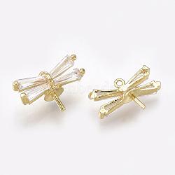 Breloques en laiton chevilles, pour la moitié de perles percées, avec zircons, libellule, clair, véritable 18k plaqué or, 8x13x5.5mm, trou: 0.7 mm; broches: 0.8 mm(KK-S348-207)