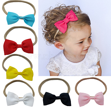 Elastic Baby Headbands for Girls, Hair Accessories, with Grosgrain Bowknot, Mixed Color, 11inches(280mm)(OHAR-Q068-M)