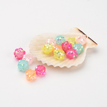 Chunky Resin Rhinestone Beads, Resin Round Beads, Mixed Color, 8mm, Hole: 1.5mm(X-RESI-M019-8mm-M)