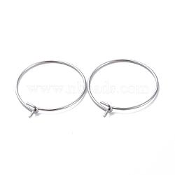 316 Stainless Steel Hoop Earring Findings, Wine Glass Charms Findings, Stainless Steel Color, 20x0.7mm(X-STAS-J025-01B-P)