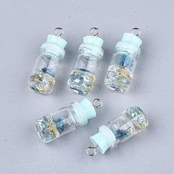 Décorations de bouteille en verre, avec résine strass et bouchon, fleur séchée et fer, platine, bleu clair, 26~27x9.5~10mm, Trou: 1.8mm(X-GLAA-S181-05B)