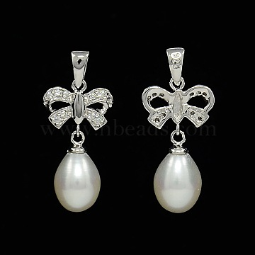 Bowknot and Teardrop Sterling Silver Pearl Pendants, with Micro Pave Cubic Zirconia, Silver, 27x12x7mm, Hole: 5x3mm(STER-N011-11)