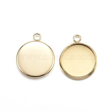 Vacuum Plating 304 Stainless Steel Pendant Cabochon Settings, Plain Edge Bezel Cups, Flat Round, Golden, Tray: 12mm, 16.5x14x2mm, Hole: 2mm(X-STAS-G127-13-12mm-G)