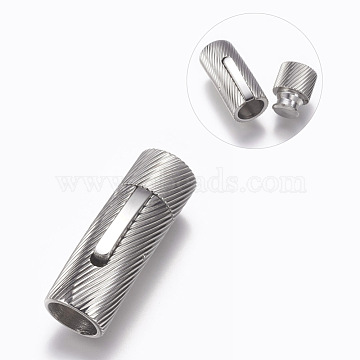 304 Stainless Steel Bayonet Clasps, Stainless Steel Color, 30x10mm, Hole: 8mm(STAS-O114-042B-P)