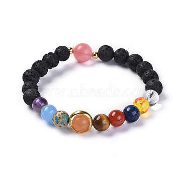 Universe Galaxy The Nine Planets Guardian Star, Natural Lava Rock and Natural Mixed Gemstone Beaded Stretch Bracelets, with Brass Findings, 2-1/4 inches(5.6cm)(X-BJEW-JB04185)