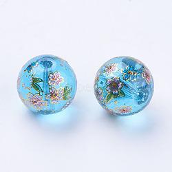цветок картины печатные стеклянные бусины, вокруг, DeepSkyBlue, 12x11~12 mm, отверстия: 1.5 mm(GLAA-E399-12mm-C02)