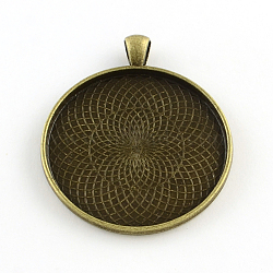 Alliage plat rond style tibétain supports cabochons grand pendentif, cuvettes à bord droit, Sans cadmium & sans nickel & sans plomb, bronze antique, plateau: 40 mm; 51.5x43x2 mm, Trou: 6x4mm(X-TIBEP-Q049-09AB-NR)