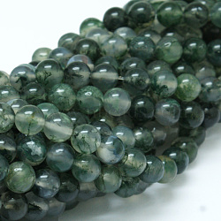 Natural Moss Agate Bead Strands, Round, Grade A, 8mm, Hole: 1mm; about 47pcs/strand, 15inches