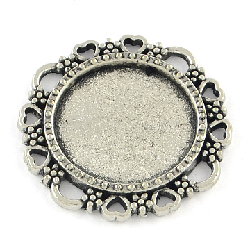 Tibetan Style Flower Alloy Cabochon Settings, Cadmium Free & Lead Free, Antique Silver, Tray: 16mm; 25x2mm(X-TIBE-Q038-009AS-RS)