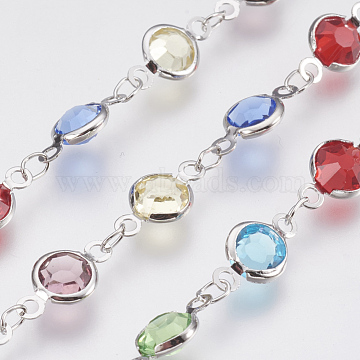 Handmade Brass Link Chains with Glasses Beads, Platinum, Colorful, 6.5mm(X-CHC-R131-02)