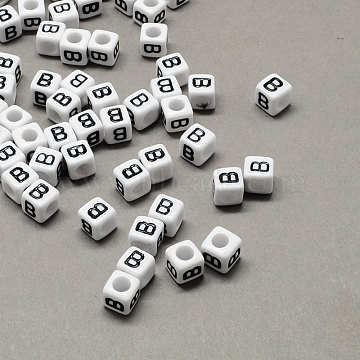 Large Hole Acrylic Letter European Beads, White & Black, Cube with Letter.B, 10x10x10mm, Hole: 4mm(X-SACR-Q103-10mm-01B)