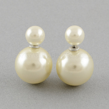 White Iron+Acrylic Stud Earrings
