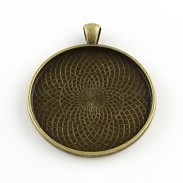 Tibetan Style Flat Round Alloy Big Pendant Cabochon Settings, Plain Edge Bezel Cups, Cadmium Free & Nickel Free & Lead Free, Antique Bronze, Tray: 40mm, 51.5x43x2mm, Hole: 6x4mm(X-TIBEP-Q049-09AB-NR)