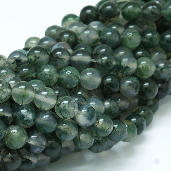 23ct NATURAL Green Brown Red Garden Moss Agate Bead ~Multicolor Pattern