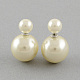 Double Side Imitation Pearl Acrylic Beads Ball Stud Earrings(EJEW-S189)-1