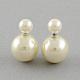 Double Side Imitation Pearl Acrylic Beads Ball Stud Earrings(EJEW-S189)-1