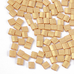 2-Hole Baking Paint Glass Seed Beads, Rectangle, Gold, 5x4.5~5.5x2~2.5mm, Hole: 0.5~0.8mm(X-SEED-S023-17C-09)
