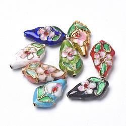 Perles en cloisonné Manuelles, feuille, couleur mixte, 18~19x10.5x4.5mm, Trou: 1mm(CLB-S006-06)