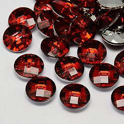 Boutons en acrylique avec strass à Taiwan, facette, 2-trou, disque, DarkRed, 11.5x4mm, Trou: 1mm(X-BUTT-F022-11.5mm-28)