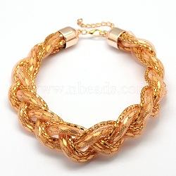 """Fer tressé colliers de chaîne maille filet, avec les accessoires en plastique, peachpuff, 18.11""""(X-NJEW-L352-34A)"""