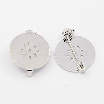 Brass Brooch Pin Findings, Platinum, 22x18x5mm, Pin: 0.8mm(KK-D266-01P)