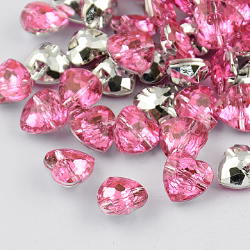 1-Hole Taiwan Acrylic Rhinestone Heart Buttons, Faceted & Silver Plated Pointed Back, Pink, 13x13x7mm, Hole: 1mm(BUTT-F017-13mm-26)