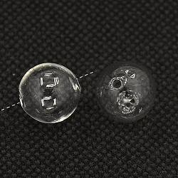 Perles de globe en verre soufflé faites à la main, rond, clair, environ 13 mm de diamètre, Trou: 1.5mm(X-ZX-DH003Y-15)