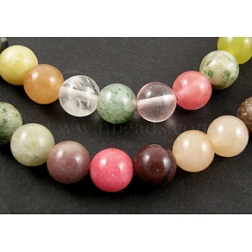 16inches Round Gemstone Strands, Mixed, about 40pcs/strand, 10mm in diameter, hole: 1mm(X-GSR10mmC170)