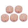 Pink Flat Round Wood Beads(X-WOOD-N006-05K)