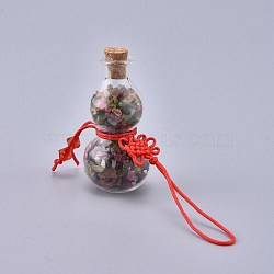 Transparent Glass Wishing Bottle Pendant Decoration, with Natural Tourmaline Chips inside, Cork Stopper, Chinese Knot Nylon Cord and Glass Beads, Gourd, 105~115mm(HJEW-K033-A01)