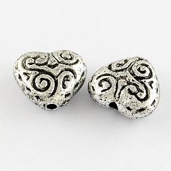 Acrylic Antique Beads, Heart, Antique Silver Color, 14mm long, 13mm wide, 7mm thick,  hole: 1.5mm(X-PLS022Y)