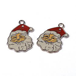 Pendentifs d'émail en alliage, Père Noël, sans plomb et sans cadmium, platine, rouge, longueur d'environ 34 mm ,  largeur de 23.5 mm, épaisseur de 2mm, Trou: 2mm(X-EAP038Y)
