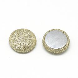 Cabochons recouverts de tissu de lustre nacré, avec fond en aluminium, demi-rond / dôme, lightkhaki, 15x5mm(X-WOVE-S084-07C)